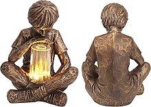oxskk Ragazzo Decoro Statua per Giardino,Resina