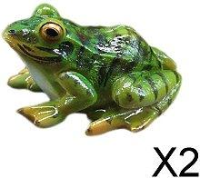 P Prettyia 2xGarden Yard Toad Frog Big Eyes Statua