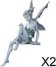 P Prettyia 2xResina Fata Statua Fontana Statuetta