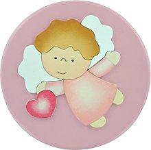 Pala bassorilievo tonda rosa Angelo di Dio con