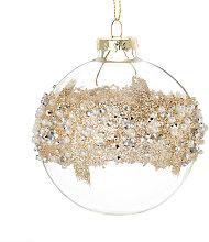 Pallina di Natale in vetro con decorazione dorata