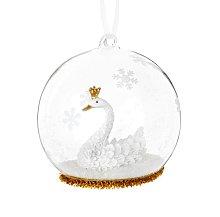Pallina di Natale in vetro decorazione cigno e