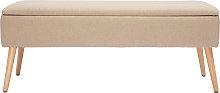 Panca contenitore in tessuto beige e legno chiaro