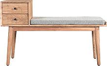 Panca da ingresso con 2 cassetti in acacia ALTY