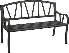 Panca panchina 2 posti da giardino HWC-F53 acciaio