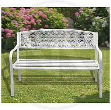 Panchina in acciaio dothan bianca 123x55x62h cm