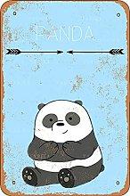 Panda Tin Look Vintage 20 x 30 cm Decorazione