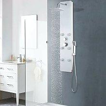 Pannello Doccia in Vetro 25x44,6x130 cm Bianco
