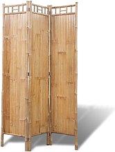 Paravento a 3 Pannelli in Bambù - Marrone -
