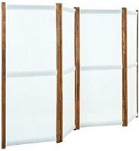 Paravento a 4 Pannelli Bianco Crema 280x170 cm -