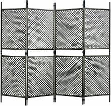 Paravento a 4 Pannelli in Polyrattan Antracite