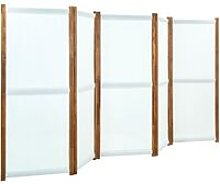 Paravento a 5 Pannelli Bianco Crema 350x170 cm -