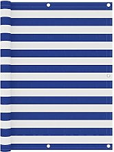 Paravento Balcone Bianco e Blu 120x300 cm Tessuto