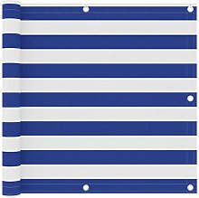 Paravento Balcone Bianco e Blu 90x600 cm Tessuto