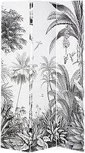 Paravento con stampa foresta tropicale nera e