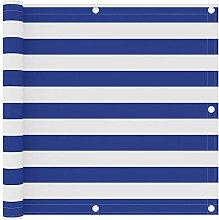 Paravento da Balcone Bianco e Blu 90x300 cm in