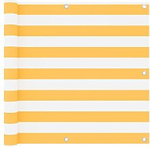 Paravento da Balcone Bianco e Giallo 90x300 cm