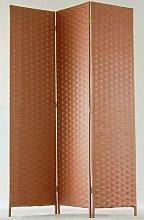Paravento di 3 pannelli in fibre naturale tinta