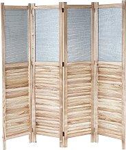 Paravento divisore legno di paulonia con metallo 4