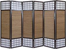 Paravento giapponese in legno bambù di 6 Pannelli