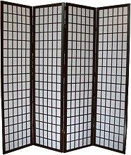 Paravento giapponese in legno nero de 4 pannelli