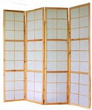 Paravento giapponese Shoji in legno naturale di 4