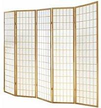 Paravento giapponese Shoji in legno naturale di 5