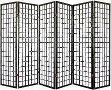 Paravento giapponese Shoji in legno nero di 6