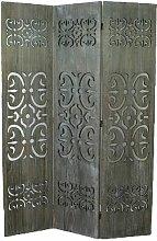 Paravento in legno grigio con scultura in legno di