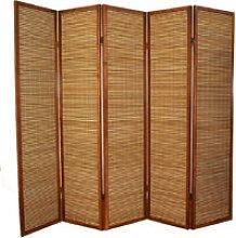 Paravento in legno marrone bambù di 5 pannelli