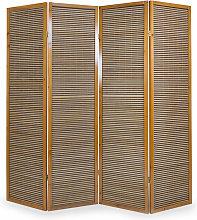 Paravento in legno marrone in bambù di 4 pannelli