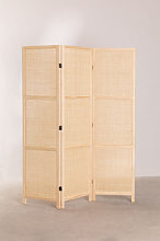 Paravento in rattan e legno Varok Marrone Legno