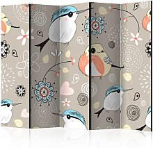 Paravento Natural pattern with birds II cm 225x172