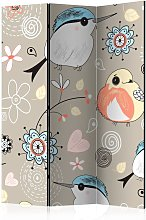 Paravento Natural pattern with birds Ro cm 135x172
