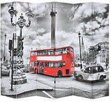 Paravento Pieghevole 228x170 cm Stampa Bus Londra