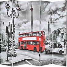 Paravento Pieghevole con Stampa Bus Londra Bianco