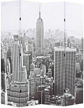 Paravento Pieghevole con Stampa New York Bianco e
