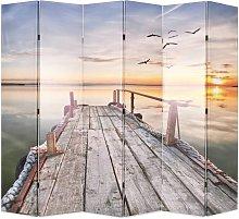 Paravento Pieghevole in legno con Stampa Lago