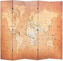 Paravento Pieghevole in Legno Stampa Mappa del