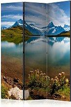 Paravento separé - Lake with mountain reflection,