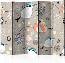 Paravento separé - Natural pattern with birds II