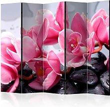 Paravento separé - Orchid flowers with zen stones