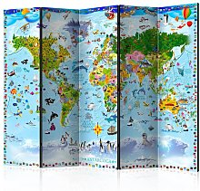Paravento World Map for Kids II Room Di cm 225x172