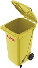 Pattumiera grande 120l HDPE giallo mobile con