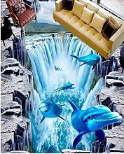 Pavimenti 3D Waterfall Dolphin Carta Da Parati Per