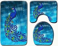 Pavone Animale Blu Set di Tappetino da Bagno 3