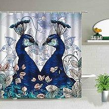 Pavone tenda della doccia colore uccello in stile