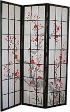PEGANE Paravento in Legno con Fiore di ciliegio