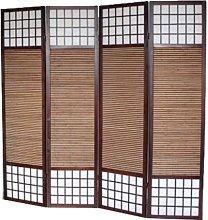 PEGANE Paravento in Legno Marrone e bambù