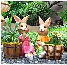 Pentola di fiori di coniglio in resina, ornamenti